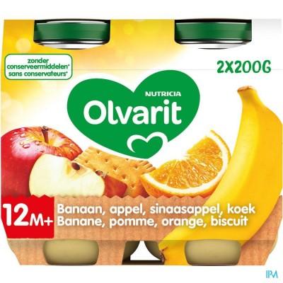 Olvarit Banaan Appel Sinaasappel Koek 2x200g 12m51