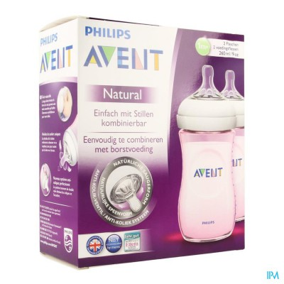 Avent Zuigfles Natural Roze Duo 2x260ml