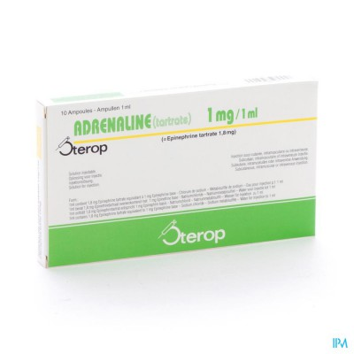 Adrenaline Tartrate Sterop 1mg/1ml Amp 10 X 1 Ud