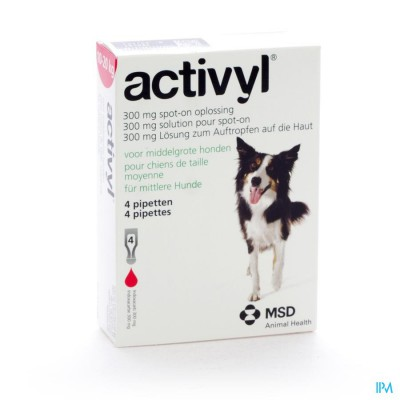 Activyl Spot-on Opl. Middelgr. Hond Pipet 4x300mg