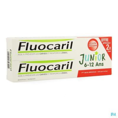 Duo Fluocaril Junior Rood Fruit 2x75ml