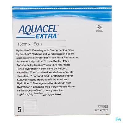 Aquacel Extra Verb Hydrofiber+versterk. 15x15cm 5