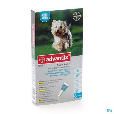Advantix 100/ 500 Honden 4<10kg Fl 6x1,0ml