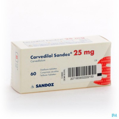 Carvedilol Sandoz 25mg Comp 60